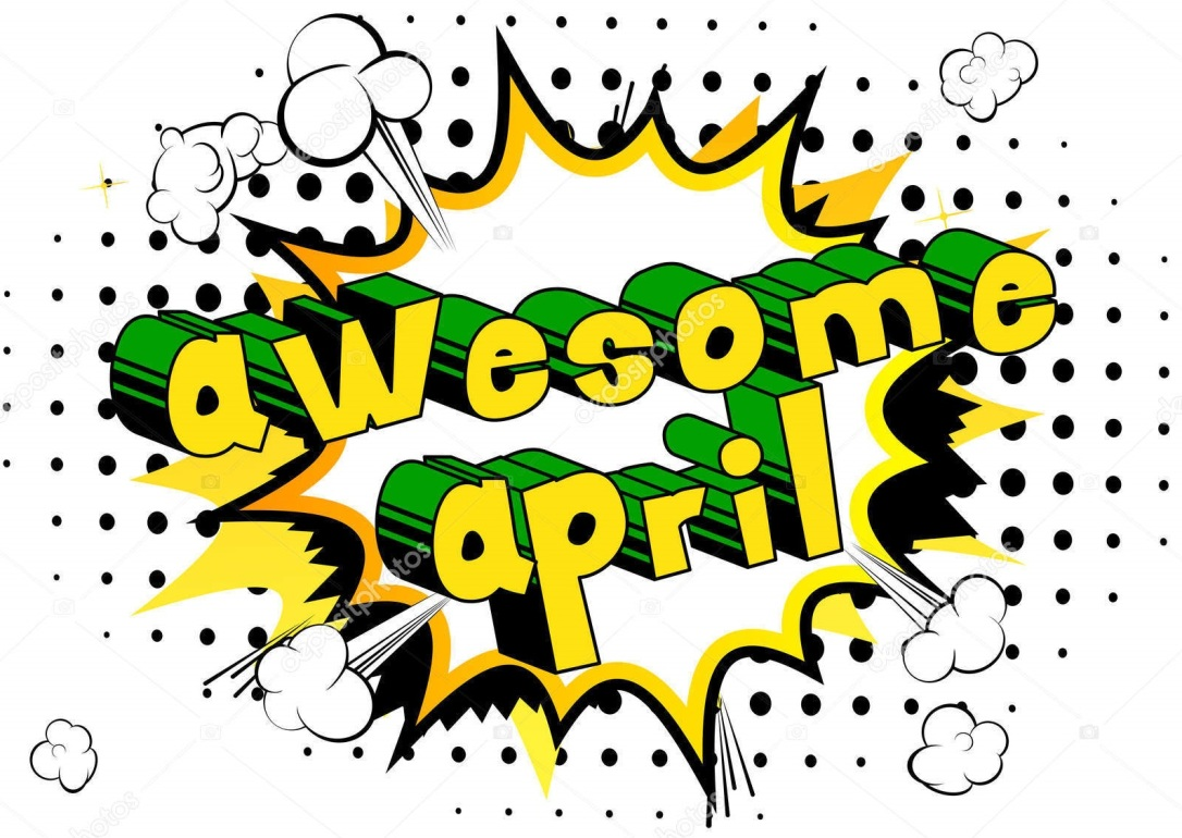Awesome April - Comic book style word on abstract background.